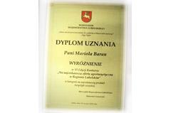 Dyplom uznania dla Marioli Baran