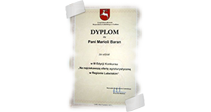 Dyplom za udział w III edycji konkursu na najciekawszą ofertę agroturystyczną w Regionie Lubelskim